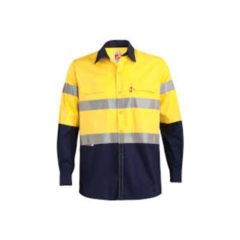 Two Tone Long Sleeve Reflective Work Shirt-msl33t