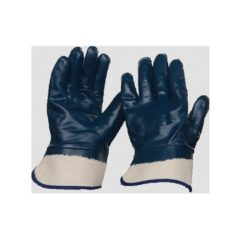 GLOVES NITRILE FULLY DIPPED CANVAS CUFF BLUE – N17