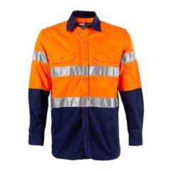 SHIRT, ORANGE/NAVY L/S WITH TAPE (G1015 O/N)